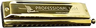 Swan, 16 Holes 64 Sounds, Chromatic Harmonica, Key of C, Golden-plated, Laser Etching, W1664h1