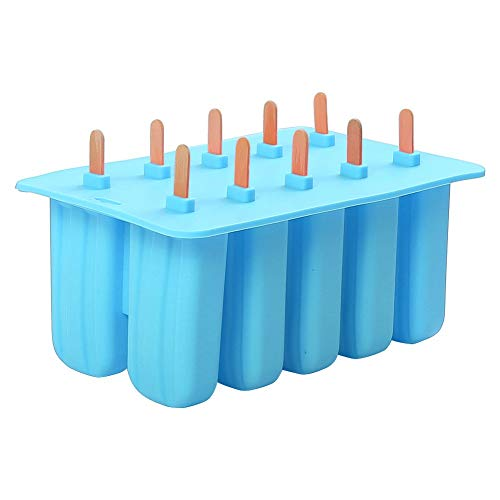 Meerveil 10 Cell Silicone ice Lolly Mould with 10 Wooden Sticks, Popsicle...