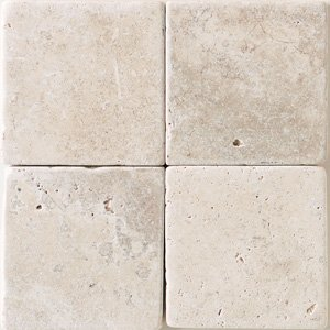 Crema Marfil 4x4' Square Marble Tile Tumbled and Honed