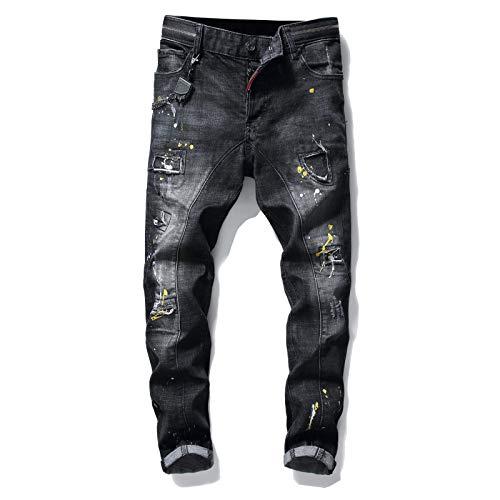 CFWL Jeans da Uomo con personalità Strappata in Vernice Elasticizzata Sottile con Cuciture Nere Uomo Pantaloni da Lavoro Mimetici Uomo...