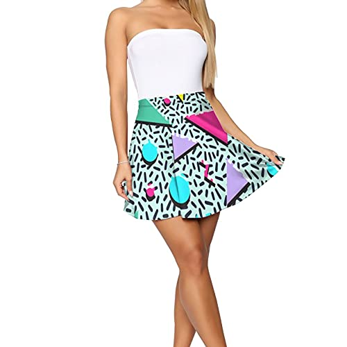 80s Geometric Pattern Flared Mini Skirt for Women, choice of designs, S to XL