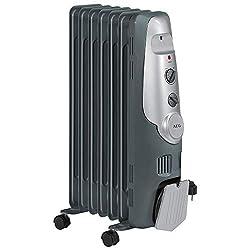 AEG RA 5520 7-Rippen-Ölradiator, 1500 Watt, 3 Leistungsstufen, Wärmeregulierung, Kabelaufwicklung, 4 Leichtlauf-Rollen