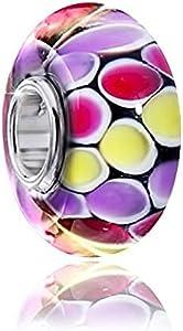 Materia vidrio diseño con cuentas colgante con diseño de lunares multicolour 'bola del juego' - cuentas de cristal Murano para Beads Pulsera #1426