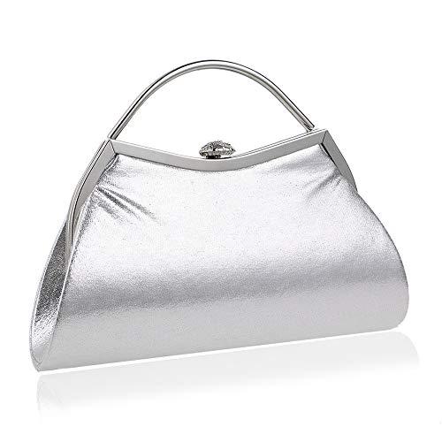 Damen Handtasche Shopper Handtasche Hand Dame Hochzeit Bankett Kleid Abendkleid Abendtasche Silber