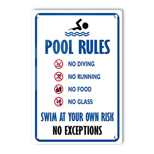 Dajoan Cartel de metal con diseño de reglas de la piscina (20,3 x 30,5 cm)