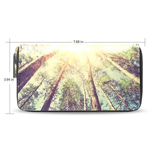 XiangHeFu portefeuille vrouwen portemonnee clutch tas zonlicht bos ritssluiting leer