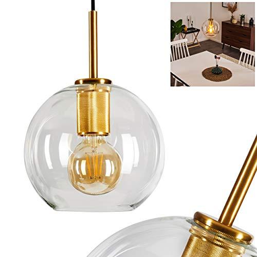 Lámpara de techo de cuadros retro, de metal dorado y pantalla de cristal transparente, 1 bombilla E27 máx. 60 W, altura 126 cm (ajustable), apta para bombillas LED