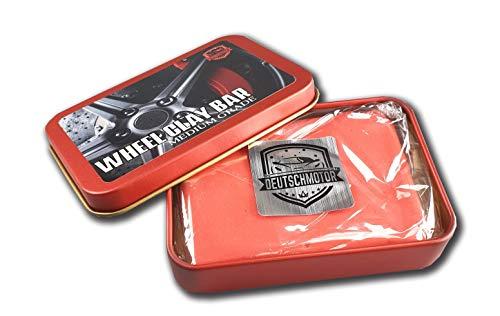 DEUTSCHMOTOR Medium Clay bar Wheel car wash Detailing Medium Grade Magic Clay + Aluminum case -  red-pack-alum1