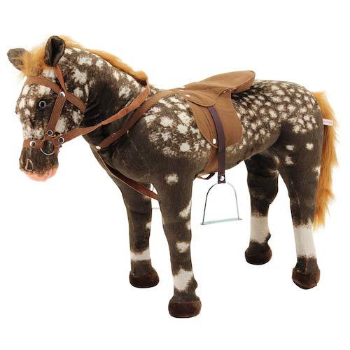 Sweety Toys 10639 Reitpferd 90 cm Stehpferd Choco-Weiss gescheckt mit Steigbügeln