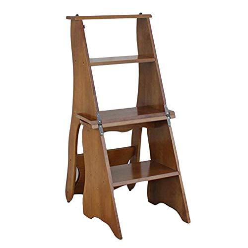 Pouf Repose-pieds ZEMIN Pliable Tabouret Échelle Escalier 4 Étapes Haute Ménage Porteur Stable Conception de la Rainure Bois, 3 Couleurs (Color : A, Size : 34x45x80cm)