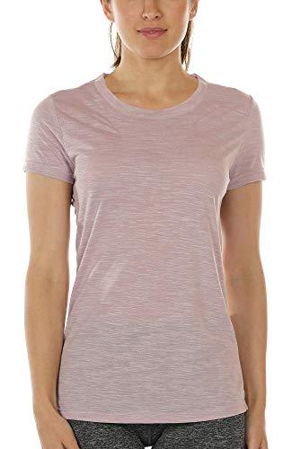 icyzone Damen Kurzarm Shirt Atmungsaktiv Oberteile Fitness Gym Top Casual T-Shirt (L, Cameo Brown)
