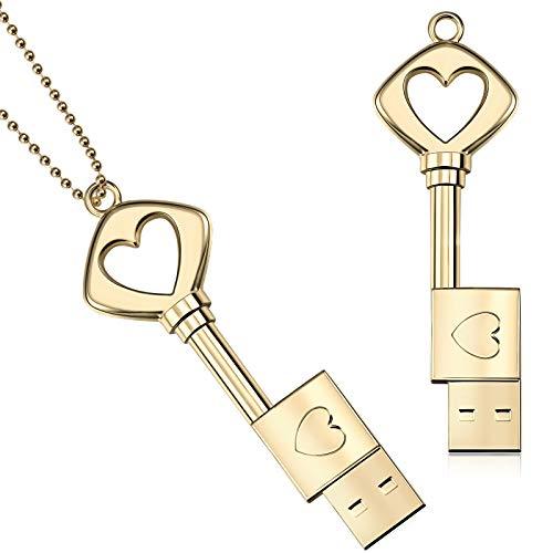 2 Stücke USB-Stick Schlüssel Herz Geformt USB 2,0 Speicherlaufwerk Stick Metall Daumenlaufwerk mit 2 Stücke Silbernen Halsketten für Abschlussfeier Valentinstag Geburtstag (64 GB, Gold)