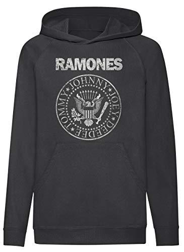 LaMAGLIERIA Sudadera niño Ramones Grunge Texture - Sudadera con Capucha Kids Punk Rock Band, 7-8 años, Negro
