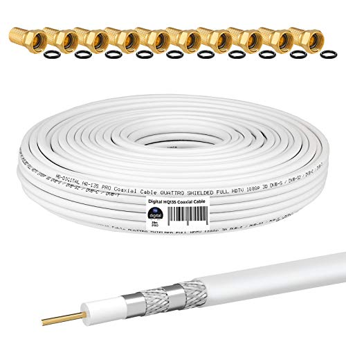 HB-DIGITAL 20m Koaxialkabel HQ-135 Antennenkabel 135dB SAT Kabel 8K 4K UHD 4-Fach geschirmt für DVB-S / S2 DVB-C / C2 DVB-T / T2 DAB+ Radio BK Anlagen + 10 F-Stecker GRATIS