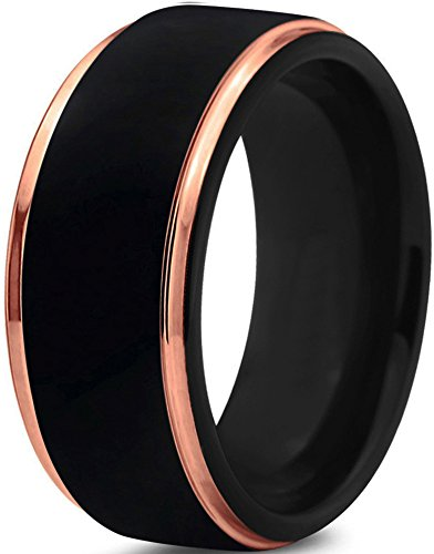 Midnight Rose Collection Tungsten Wedding Band Ring 10mm for Men Women 18k Rose Gold Plated Step Edge Black Brushed Polished Size 9.5