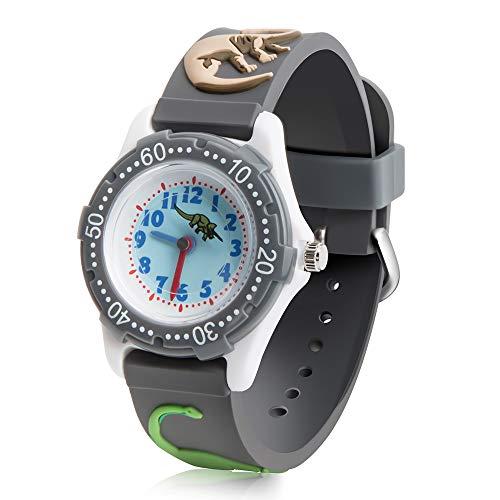 ColiChili キッズ 腕時計 子供用 3Dの恐竜柄 アラビア数字 見やすい 生活防水 グレー ボーイズ 面白い ウォッチ クオーツ アナログ表示 卒園 入学祝いプレゼント