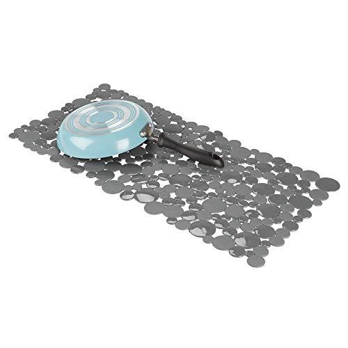 mDesign Alfombrillas antideslizantes para recortar – Base para fregadero grande con diseño de pompas de jabón – Tapetes protectores de PVC para la vajilla y el fregadero – gris