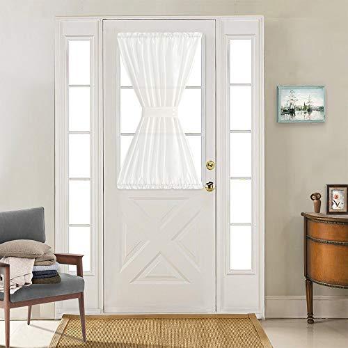 Vangao Rod Poket Curtain 40 inch Length Faux Silk White French Door Panel Satin Privacy French Door Curtain, 1 Panel, with Bonus Tieback
