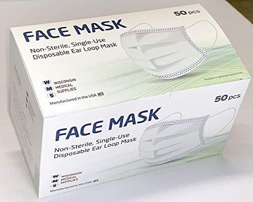 WMS Wisconsin Medical Supplies, 3-Layer Face Masks, MADE IN USA, 1 Pack (50 PCs)