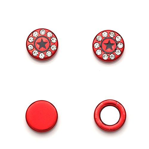 Idin sieraden rood rond kristal ster oorbellen Omegaclip zonder gaatjes magnetisch
