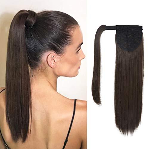 SEIKEA Clip in Ponytail Extension Wrap Around Natural Hairpiece for Women 20 Inch Straight Hair - Dark Chocolate Brown