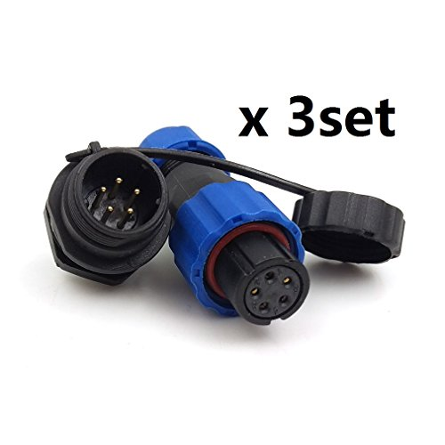 SD13 IP68 5PIN Waterproof Power Connector, High Voltage Circular Power Connector Industrial Electrical Cable Wire Connector Plug(Female)-Socket(Male) (5pin, Panel Mount x 3set)