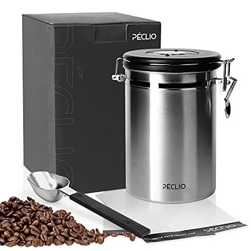 Peclio Kaffeedose Luftdicht 500g, Kaffeebehälter mit Kaffee-Schaufel, Vorratsdose zur Aufbewahrung aus Edelstahl, Siber