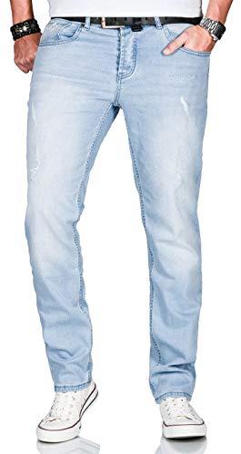 A. Salvarini Herren Stretch Jeans Hose Basic Slim Fit Pants [AS-161-Hellblau-W33 L30]