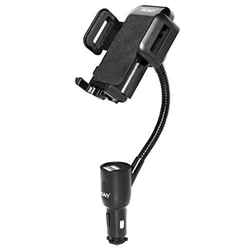 SOAIY 3 in 1 Supporto smartphone per auto Porta cellulare auto con Doppia USB e Braccio Regolabile 360° Visualizza la tensione e la corrente adatto iPhone, Samsung, Huawei e ecc