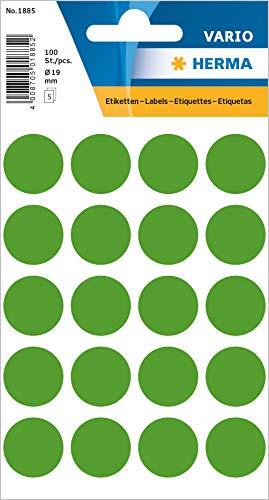 HERMA 1885 Vielzweck-Etiketten / Farbpunkte rund (Ø 19 mm, 5 Blatt, Papier, matt) selbstklebend, permanent haftende Markierungspunkte zur Handbeschriftung, 100 Klebepunkte, dunkelgrün