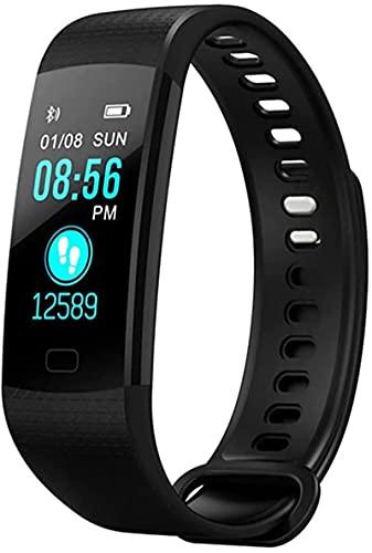 Rastreador de fitness, actividad impermeable, con ritmo cardíaco y monitor de presión arterial, con contador de calorías de seguimiento de sueño (negro)