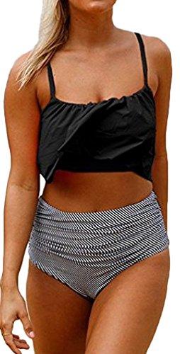 PANOZON Mujer Traje de Baño Dos Piezas Camisa de Rayas Cintura Alta Bikinis Sets Tankinis (XX-Large, Negro)