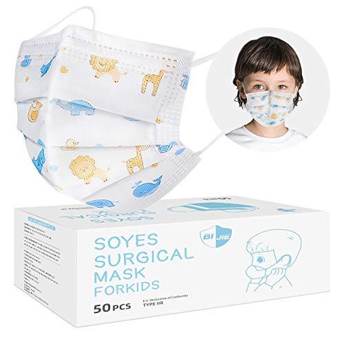 SOYES Mundschutz Kinder Einweg Kindermasken TYP IIR 3 Lagig - 50 Stück Einwegmasken Kinder CE Zertifizierte - Einweg-Gesichtsmaske - Mund Nasen Schutzmaske Kindermasken Junge Mädchen,BFE 99%