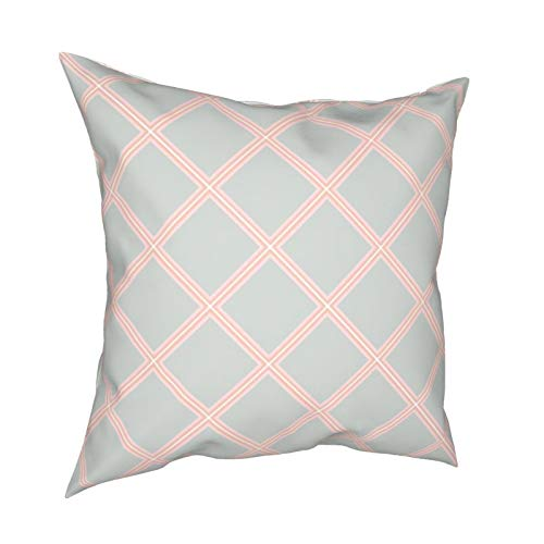 Reebos Dekokissenbezüge, Modisch, Pastellgrün, Orange, Pink, geometrische Vorlage, Heimdekoration, Couch-Kissenbezüge für Sofa, Wohnzimmer, Bett, 45,7 x 45,7 cm