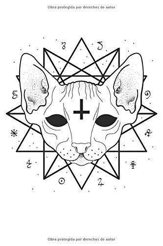 Gato oculto geometría sagrada: Cuaderno mágico de las brujas ocultas del gato de los regalos de Wiccan gobernado (formato A5, 15,24 x 22,86 cm, 120 páginas)