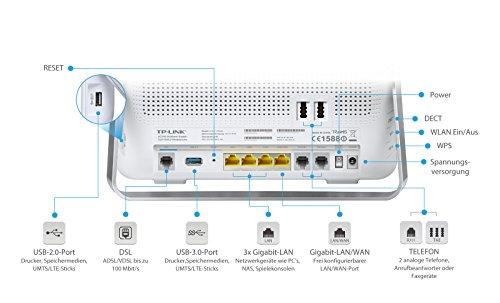 TP-Link Archer VR900v AC1900 WLAN Telefonie Modemrouter (VDSL-/ADSL-Modem, 1300 Mbit/s 5 GHz, 600 Mbit/s 2,4GHz, Beamforming, kompatibel zu Telekom/ 1&1/ Vodafone/O2 u.a., Mediaserver)