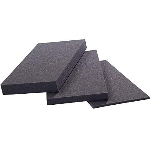 saarschaum® Schaumstoffplatte, Schaumstoff Matte RG 8080 -schwarz- 202x102x3cm sehr fest, Gute Qualität für Sitzkissen Sitzbänke Stuhlkissen Palettenpolster Harte Matratzenauflage Schlafpolster UVM.