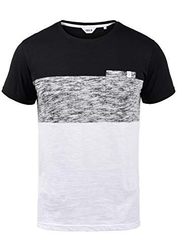 !Solid Sinor Herren T-Shirt Kurzarm Shirt mit Streifen und Rundhalsausschnitt aus 100{a2b21148505ec3537c3aa22220de2d504ae644e63b9f0bf0e12968944e83bd49} Baumwolle, Größe:L, Farbe:Black (9000)