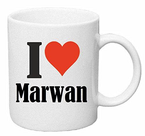 taza para café I Love Marwan Cerámica Altura 9.5 cm diámetro de 8 cm de Blanco