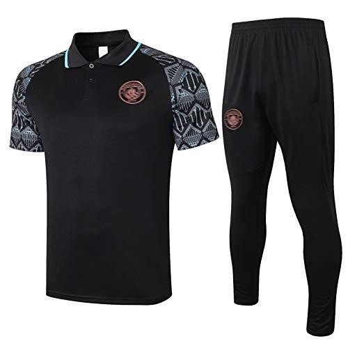 AXEE Conjuntos de Camisetas de fútbol Mǎnchěstěr Hombres - Adultos Fútbol Training Tacksuit de Manga Corta Polo Sportswear F-XXL