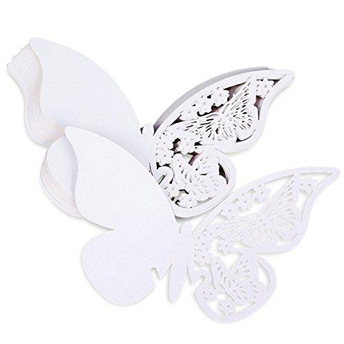 Sonline 50pcs Carte Nom Marque Place Papillon en Papier BLANC Deco Verre Gateau Mariage