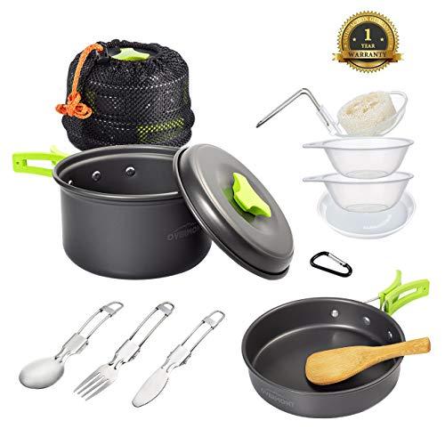 Overmont DS-200 14en 1 Juego de utensilios de cocina ollas sartén cubiertos para camping acampada senderismo excursión deporte al aire libre