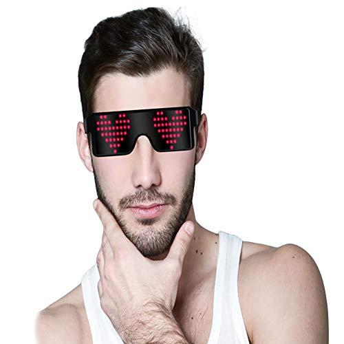 Umiwe Gafas LED de neón, Gafas con luz de Obturador con 8 Modos de luz Gafas con Brillo Novedad Ojos Brillantes Exhibición de Mensajes, Animación, Dibujos para DJ Disco Bar Raves Fiesta Halloween