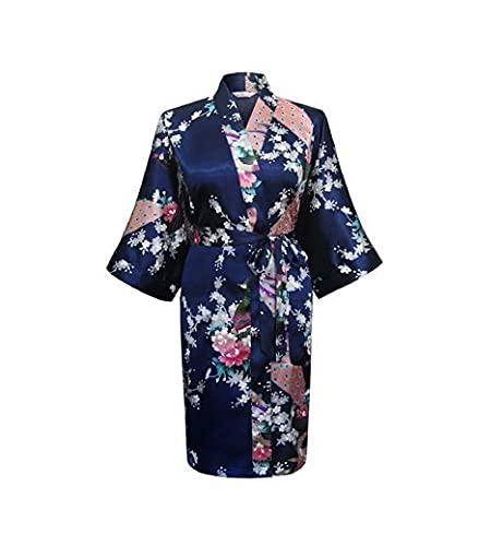 KASLXA Albornoz de Kimono de Seda para Mujer, Bata de satén, Bata Larga para Mujer, Batas Sexis de Noche para Dama de Honor-a87-S