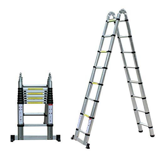 Escalera telescópica extensible de 5 m, escalera plegable multiusos de aluminio, capacidad...