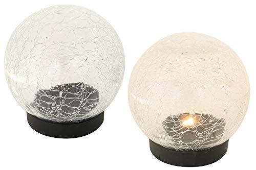 Kynast Garden 2er Pack LED Glas-Kugellampe Tischlampe mit Timer