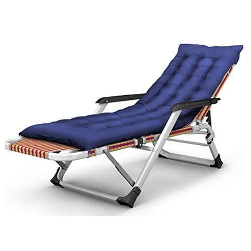 Hh001 Klappbett Startseite Balkon Terrasse Liegeplatz Strand im Freien Tragbarer Stuhl Büro Siesta Bett/Lazy Chair Verstellbares Klappbett (Color : Blue, Size : 178 * 65 * 25CM)