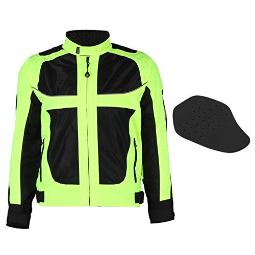Aukson Chaquetas de Montar en Motocicleta Hombres, a Prueba de Viento, Transpirable, para Motocicleta, Equipo de protección de Cuerpo Completo, Armadura, Ropa Reflectante(XL)