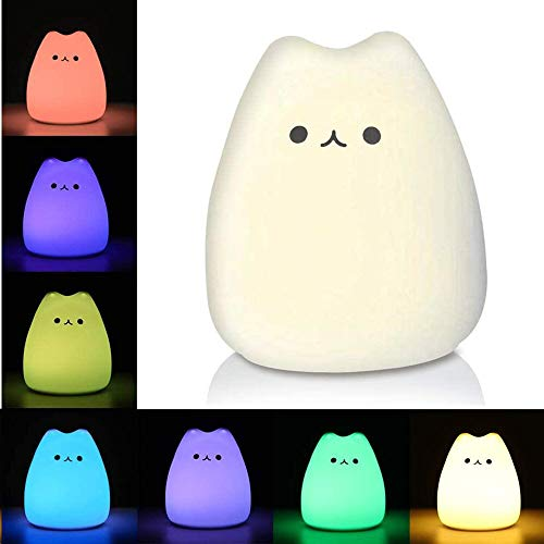 Litake LED Cat Night Light, Battery Powered Silicone Cute Cat Nursery Lights with Warm White and 7-Color Breathing Modes for Kids Baby Children (Mini Celebrity Cat)