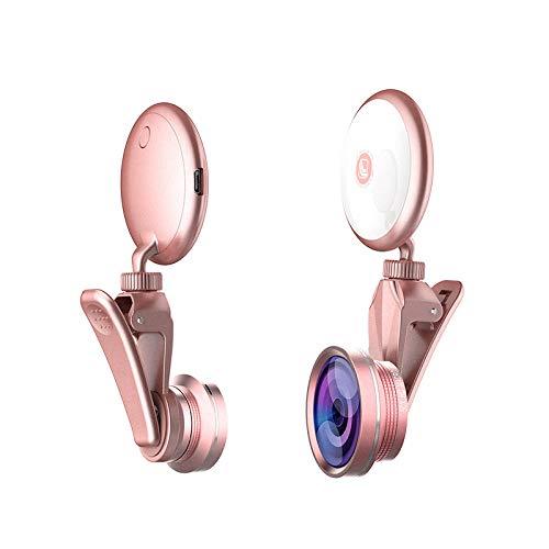 xuanwei Lente de luz de Relleno LED Rotación de 360 Grados para Tomar fotografías Lente de luz de Relleno RK19S Artefacto Selfie Fotografía Externa-Oro Rosa